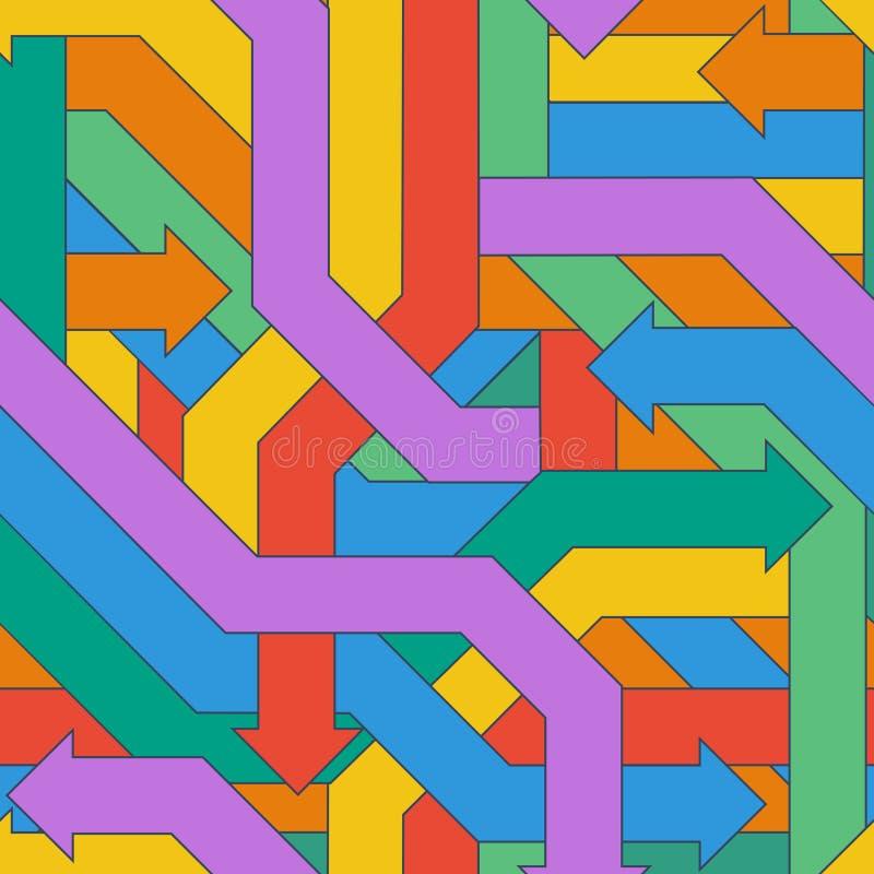 Modèle sans couture des flèches entrelacées colorées illustration de vecteur