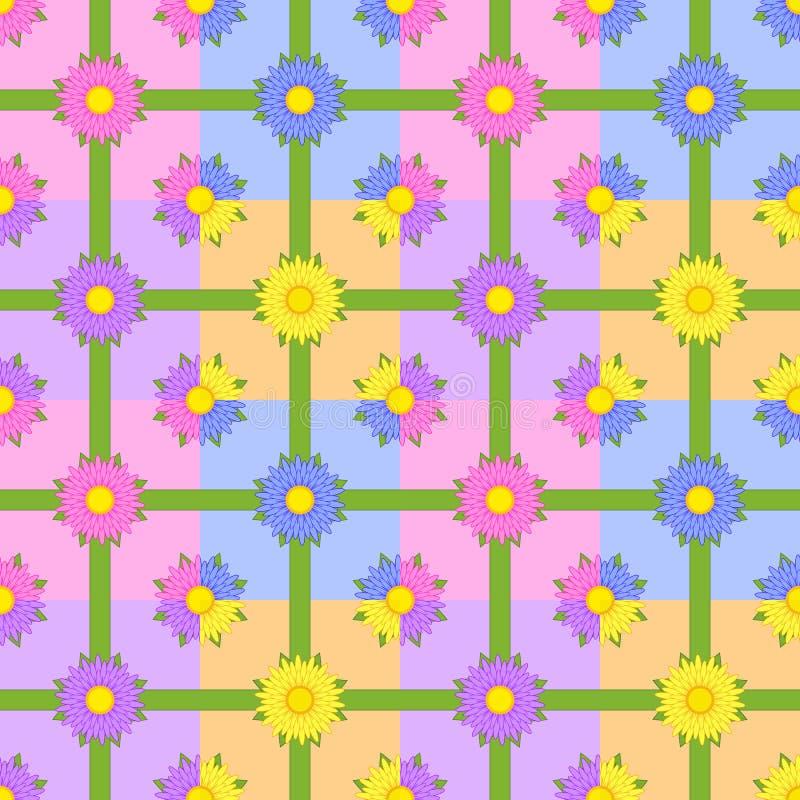 Modèle sans couture des fleurs avec les rubans verts sur les places colorées illustration stock
