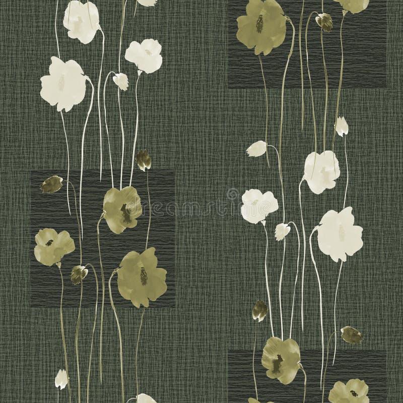 Modèle sans couture des fleurs blanches et vertes sauvages sur un fond vert-foncé avec des places watercolor illustration de vecteur