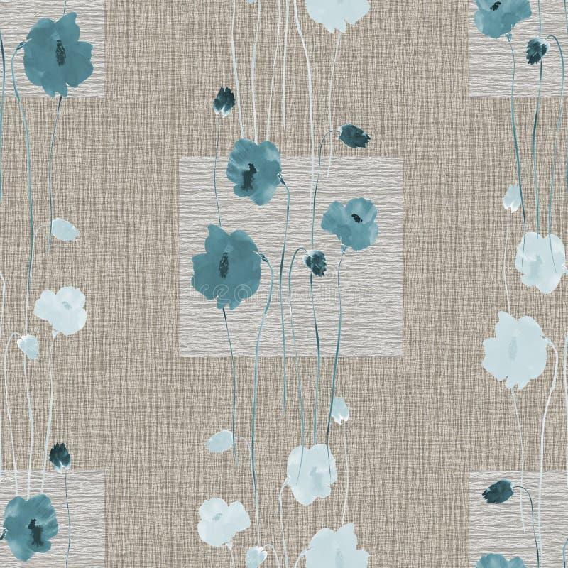 Modèle sans couture des fleurs bleues sauvages sur un fond beige avec des places watercolor illustration stock