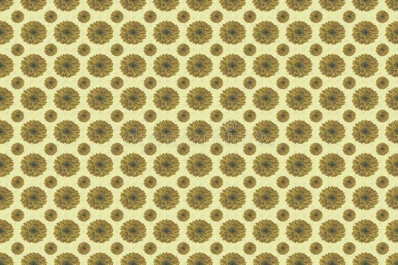 Modèle sans couture des fleurs dans des couleurs de vieil or et de caramel au beurre photo stock