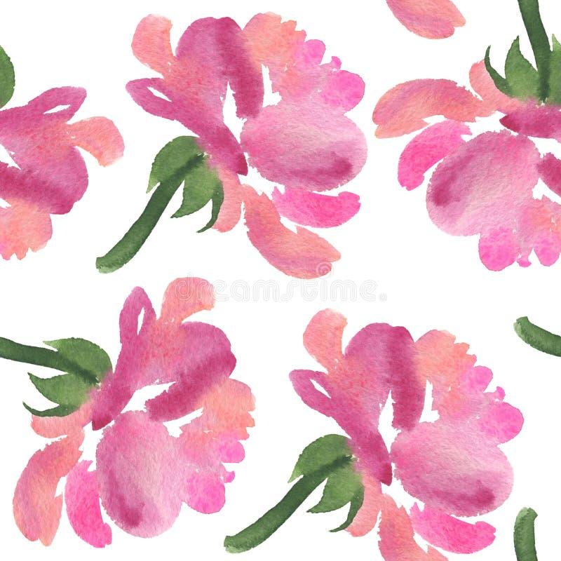 Modèle sans couture des fleurs roses d'aquarelle rose image libre de droits