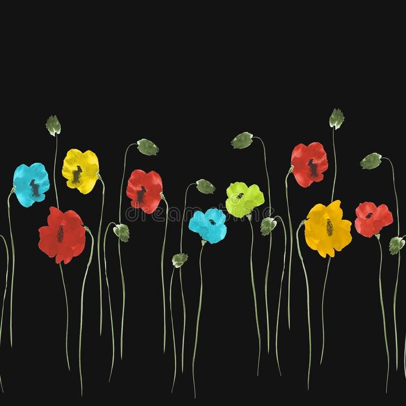 Modèle sans couture des fleurs rouges, bleues, jaunes sur le fond noir Aquarelle -2 illustration libre de droits