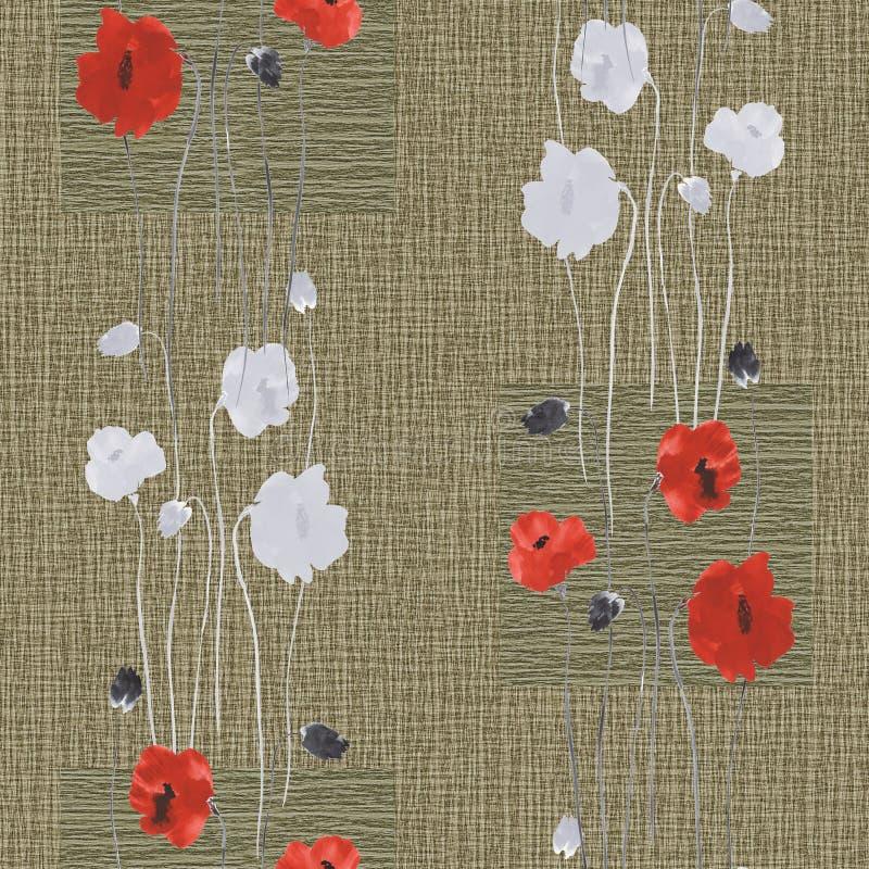 Modèle sans couture des fleurs rouges et blanches sauvages du pavot sur un fond beige profond avec des places watercolor illustration stock