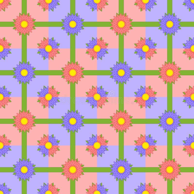 Modèle sans couture des fleurs rouges et pourpres avec les rubans verts sur les places multicolores illustration de vecteur