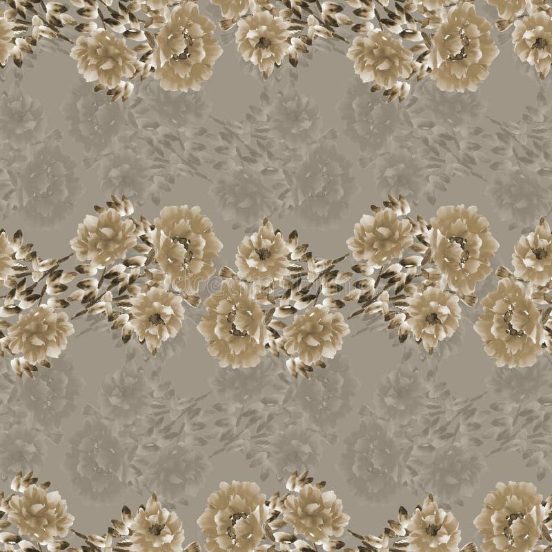 Modèle sans couture des fleurs sauvages beiges et grises sur un fond beige profond watercolor illustration de vecteur