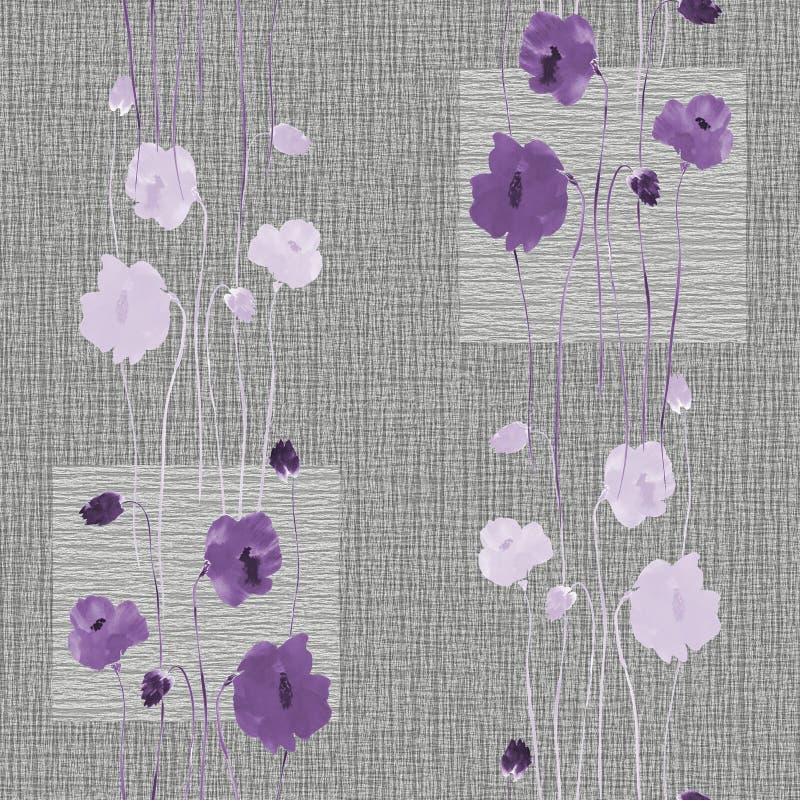 Modèle sans couture des fleurs violettes sauvages sur un fond gris avec des places watercolor illustration de vecteur