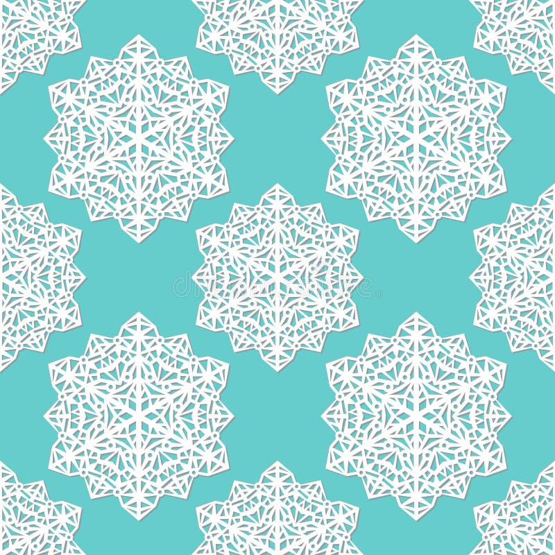 Modèle sans couture des flocons de neige de dentelle d'abrégé sur papier de coupe-circuit sur le fond bleu illustration libre de droits