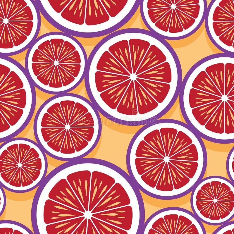 Modèle sans couture des graphiques oranges de tranche de fruit illustration de vecteur