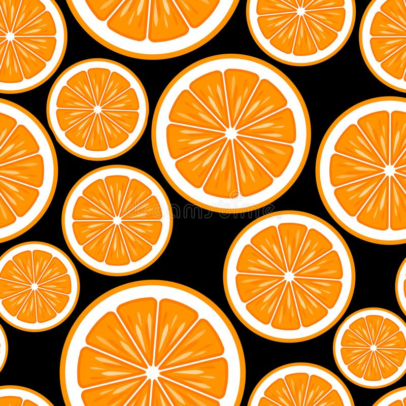 Modèle sans couture des graphiques oranges de tranche de fruit illustration libre de droits