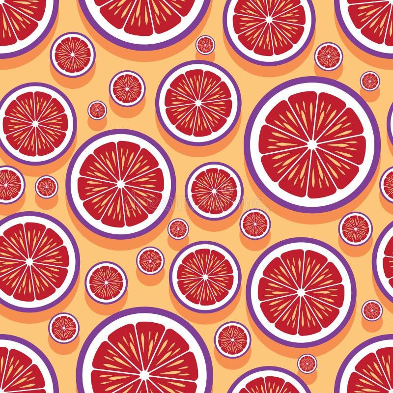 Modèle sans couture des graphiques oranges de tranche de fruit illustration stock