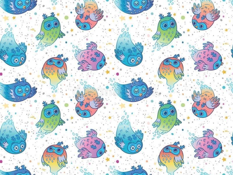 Modèle sans couture des hiboux colorés mignons de fantôme de vecteur Style de bande dessinée d'enfants Illustration de vecteur illustration de vecteur