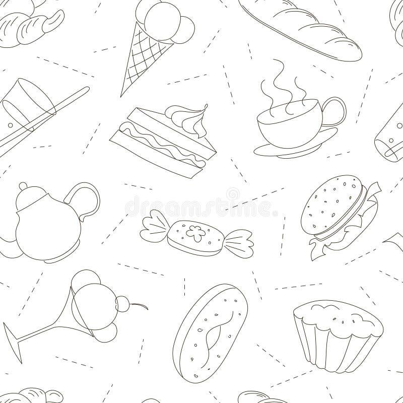 Modèle sans couture des icônes de griffonnage d'ensemble pour le thé illustration stock