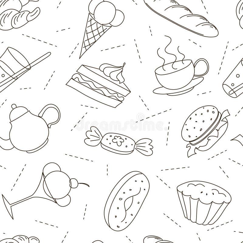 Modèle sans couture des icônes de griffonnage d'ensemble pour le thé illustration de vecteur