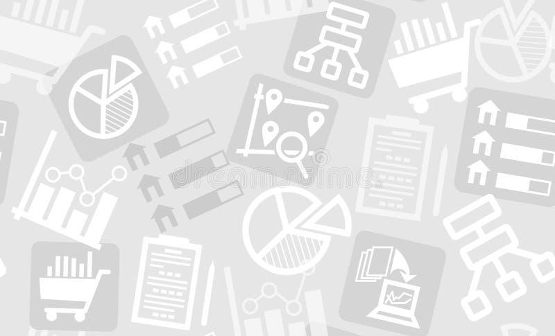 Modèle sans couture des icônes de recherches et d'analytics illustration stock