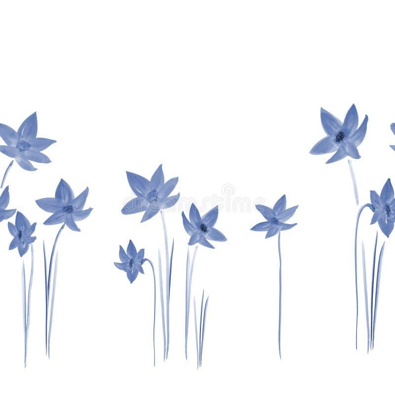 Modèle sans couture des jonquilles bleues sauvages sur un fond blanc watercolor illustration de vecteur