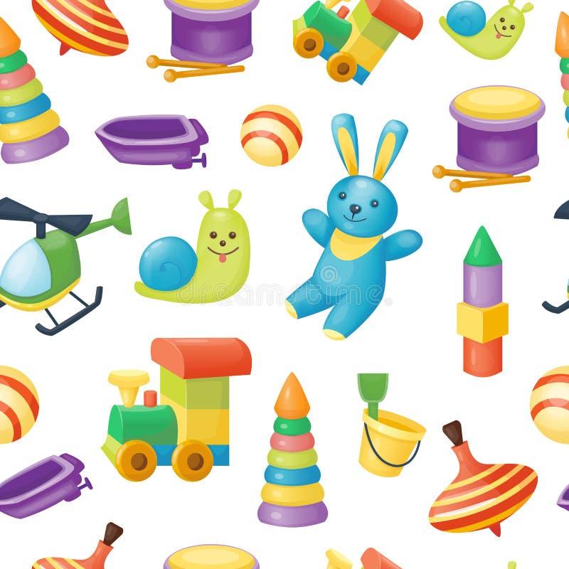 Modèle sans couture des jouets pour des jeux d'enfants illustration stock