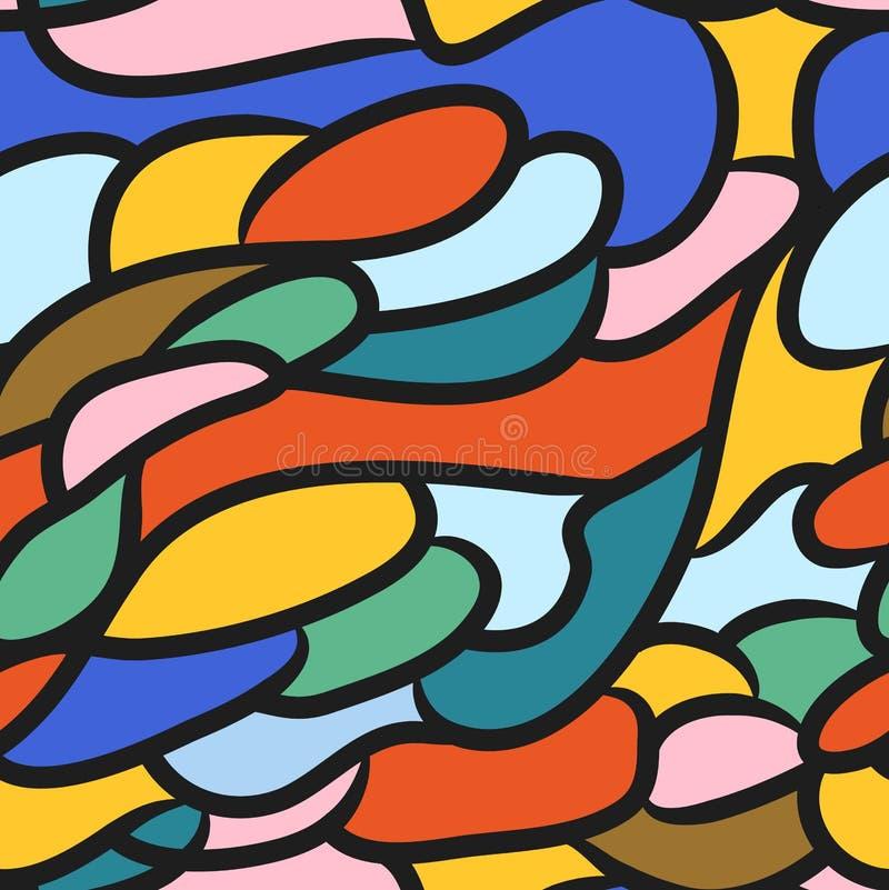 Modèle sans couture des lignes dans le style du verre souillé illustration libre de droits