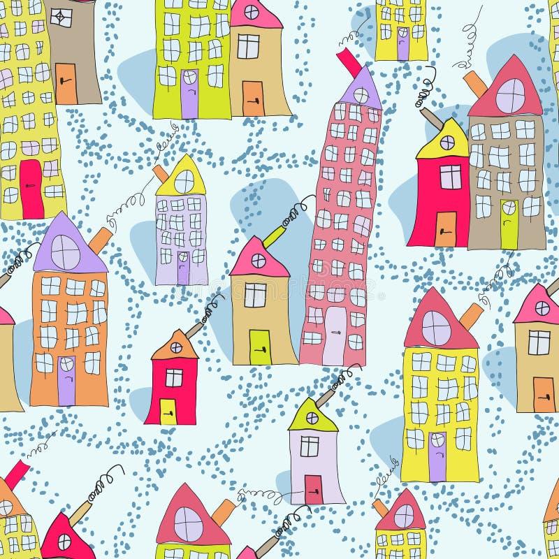 Modèle sans couture des maisons tirées par la main dans la ville d'hiver photos stock