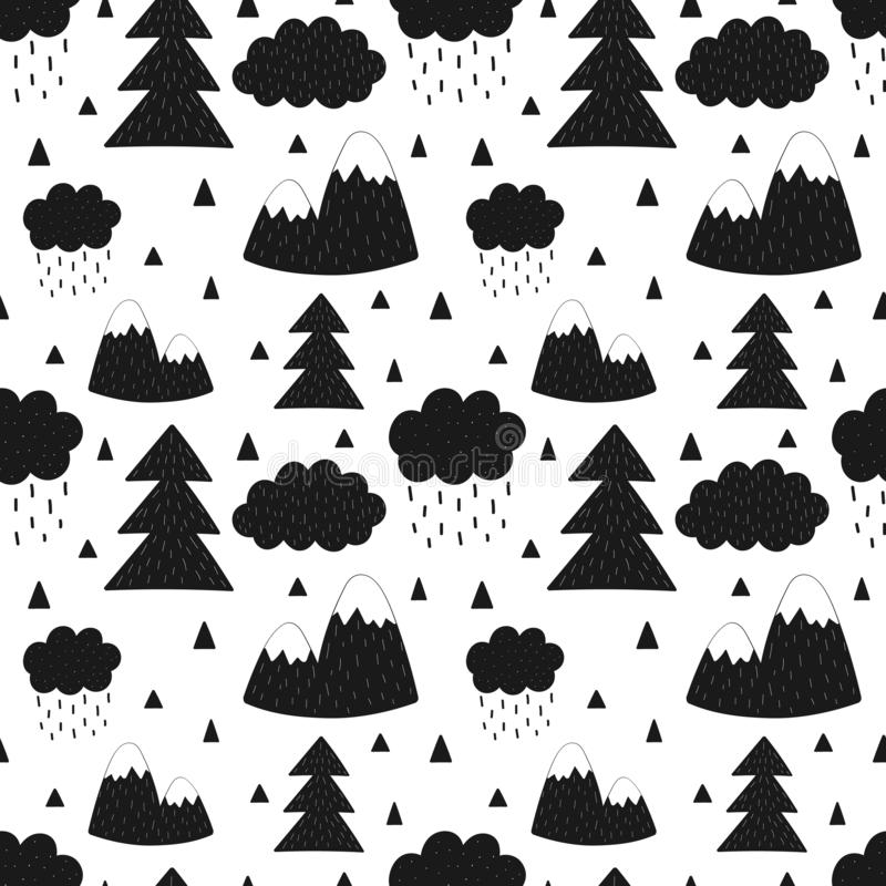 Modèle sans couture des montagnes, arbres, nuages, pluie, arbre de Noël r Pour le bann illustration libre de droits