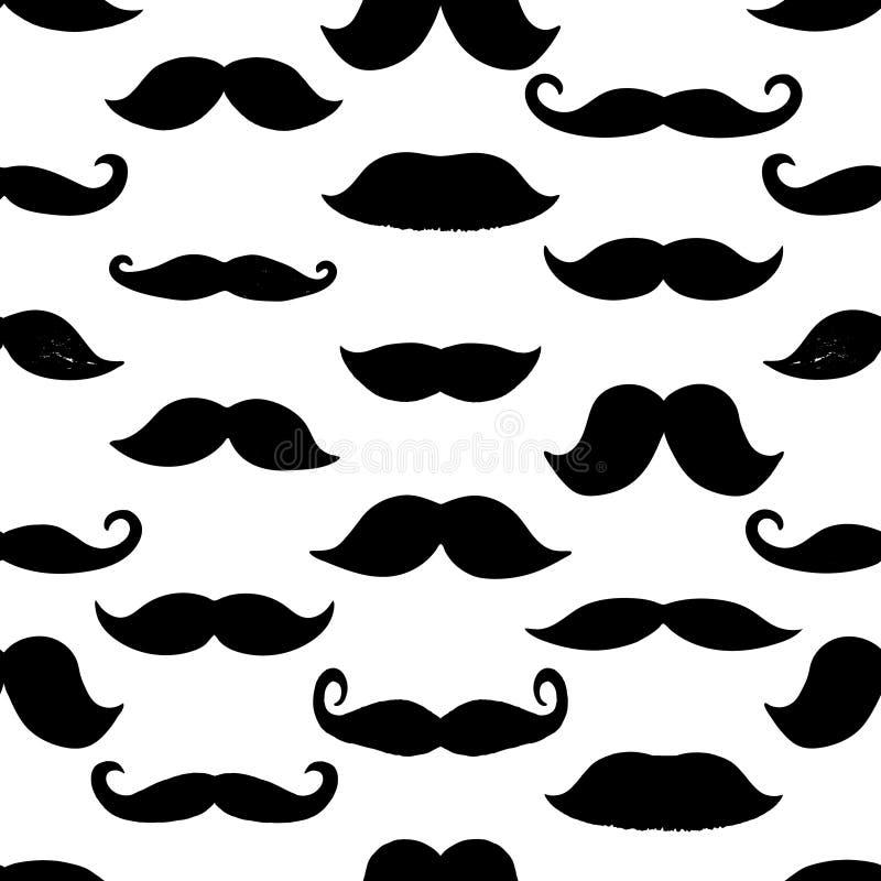 Modèle sans couture des moustaches noires d'isolement sur le fond blanc Moustaches tirées par la main illustration de vecteur