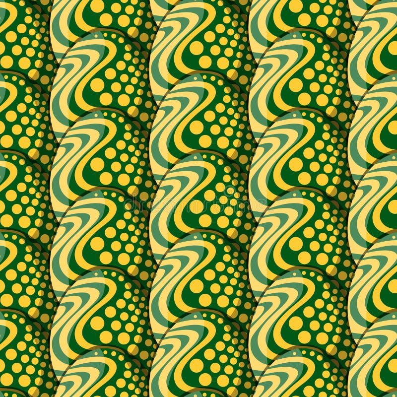 Modèle sans couture des oeufs avec des cercles et des vagues illustration stock