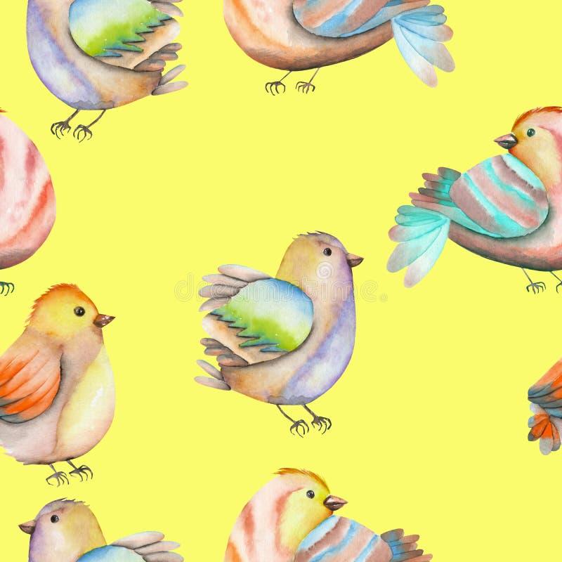 Download Modèle Sans Couture Des Oiseaux D'aquarelle Sur Un Fond Jaune Illustration Stock - Illustration du clavette, nestling: 76078995