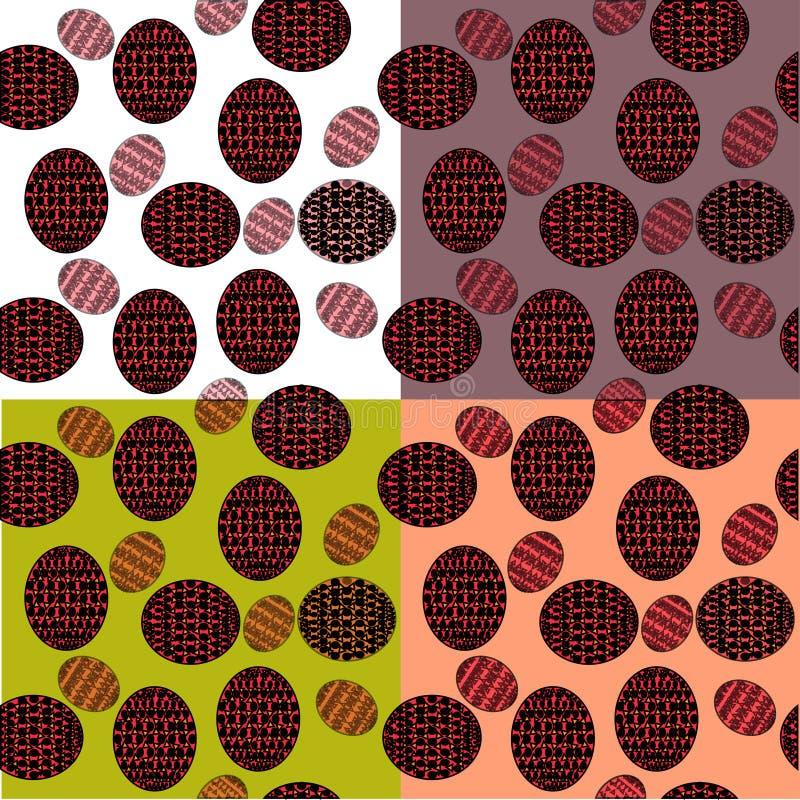 Modèle sans couture des ovales avec les modèles rouges sur un fond des places blanches illustration de vecteur