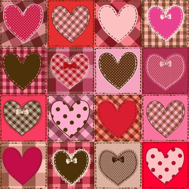 Modèle sans couture des patchworks de fantaisie de coeur illustration de vecteur