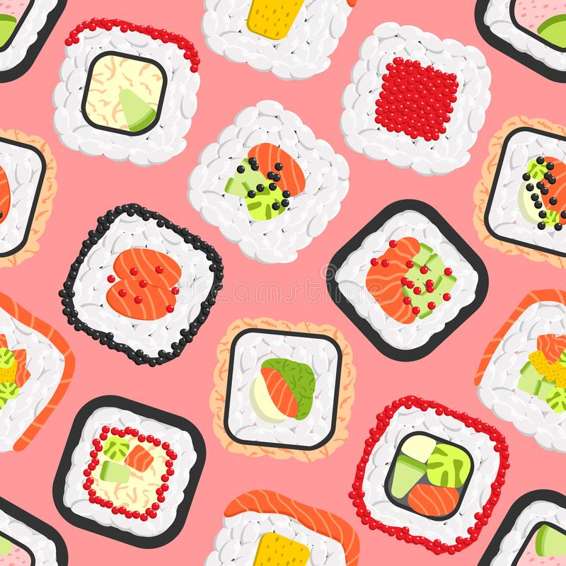 Modèle sans couture des petits pains de sushi colorés mignons illustration de vecteur