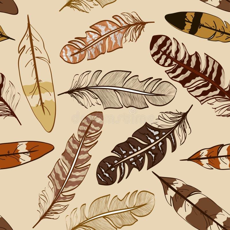 Modèle sans couture des plumes d'oiseau illustration libre de droits