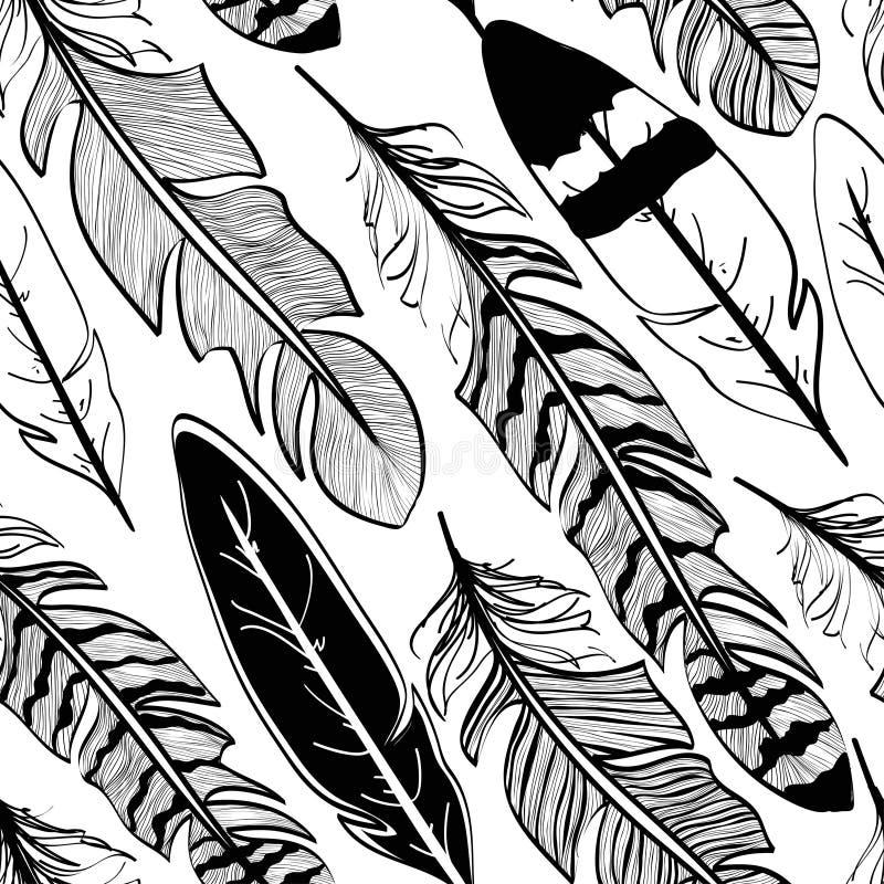 Modèle sans couture des plumes d'oiseau illustration de vecteur
