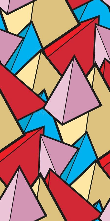 Modèle sans couture des pyramides de griffonnage pour votre créativité illustration stock