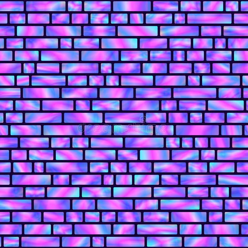 Modèle sans couture des rectangles olographes bleus et roses illustration stock