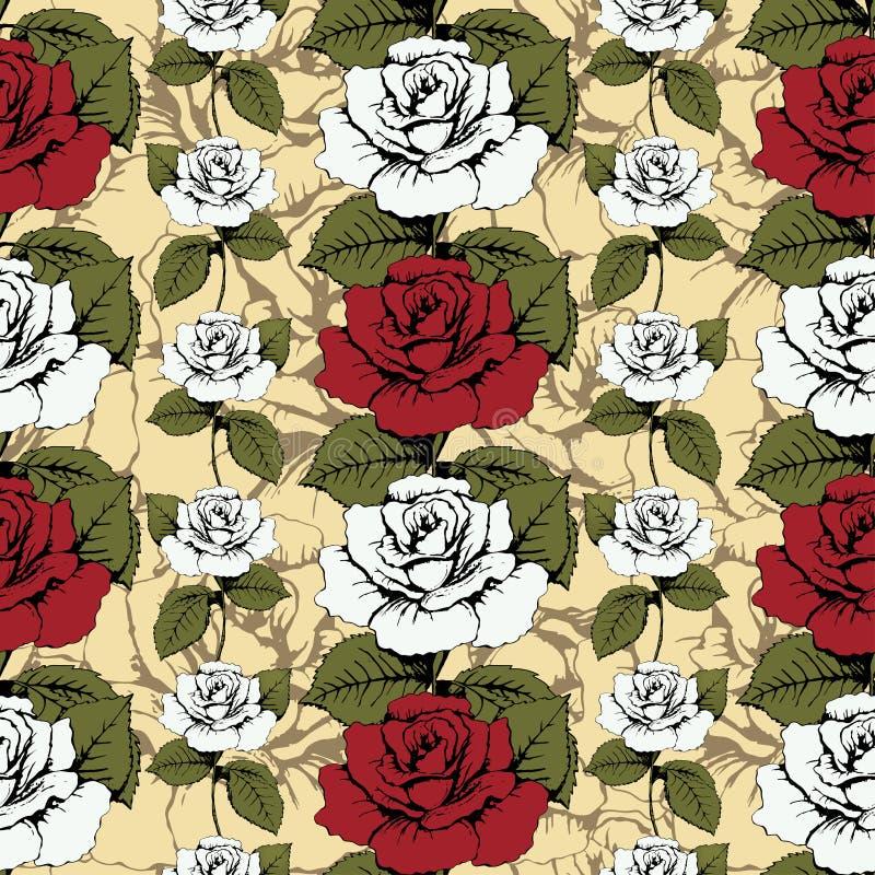 Modèle sans couture des roses de fleurs Roses rouges et blanches tissées, fleuri Fond jaune avec les modèles fleuris Bourgeons to illustration de vecteur