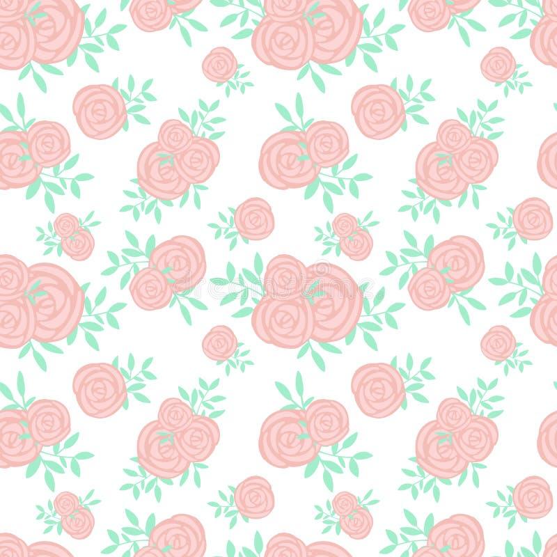 Modèle sans couture des roses roses tirées par la main de bande dessinée et des feuilles vertes Illustration aux couleurs pastel  illustration stock