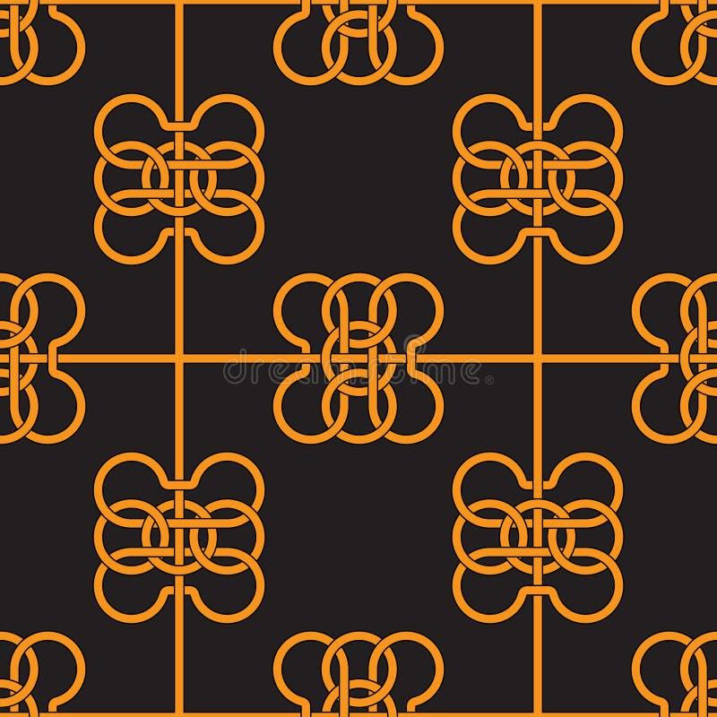 Modèle sans couture des rubans s'entrelaçants jaunes sur le fond noir illustration libre de droits