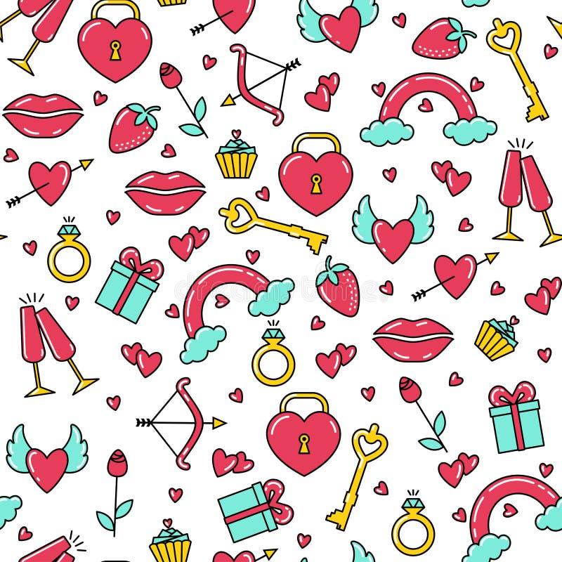 Modèle sans couture des symboles lumineux de Saint-Valentin illustration de vecteur