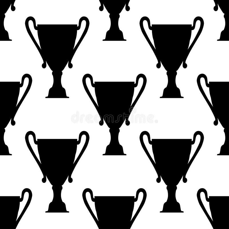 Modèle sans couture des tasses de trophée illustration de vecteur