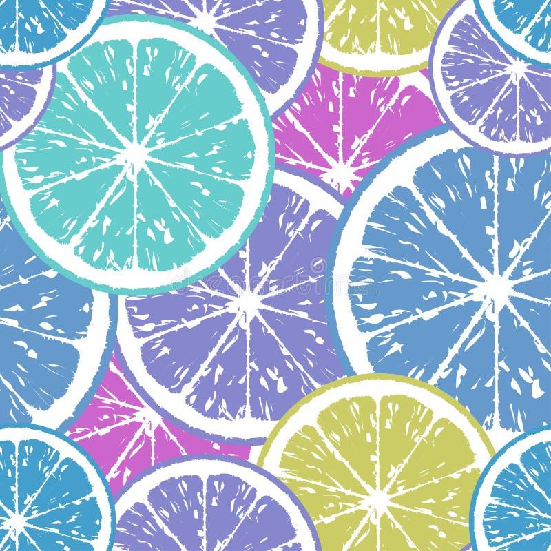 Modèle sans couture des tranches de citron dans des couleurs froides illustration stock