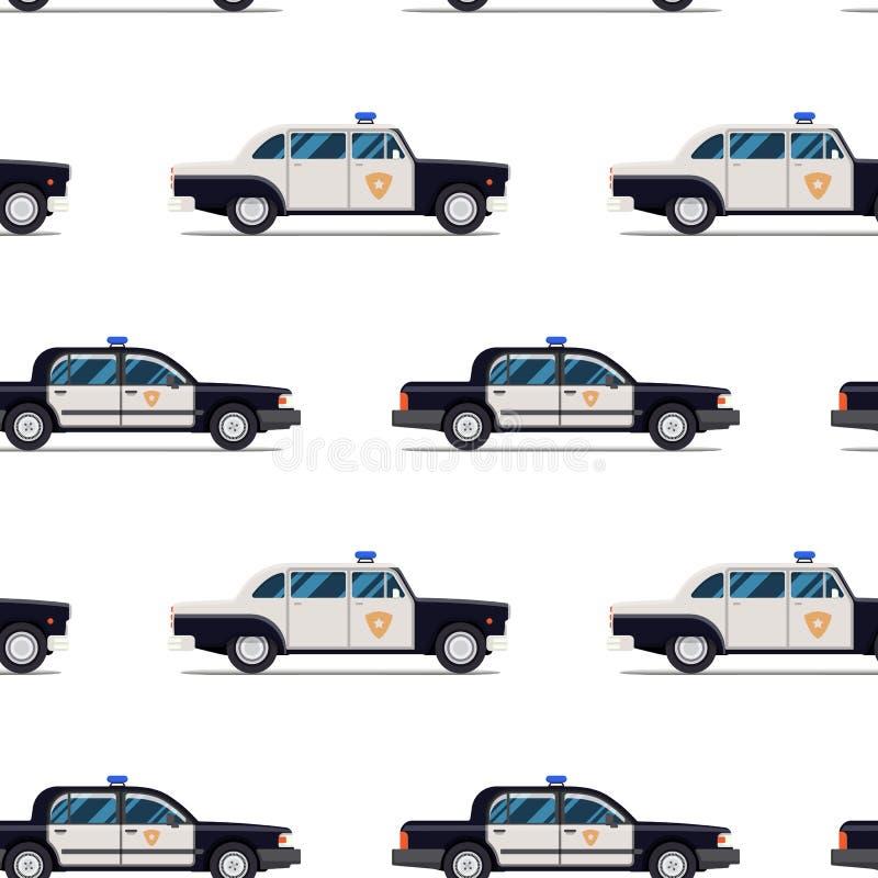 Modèle sans couture des voitures de police illustration de vecteur