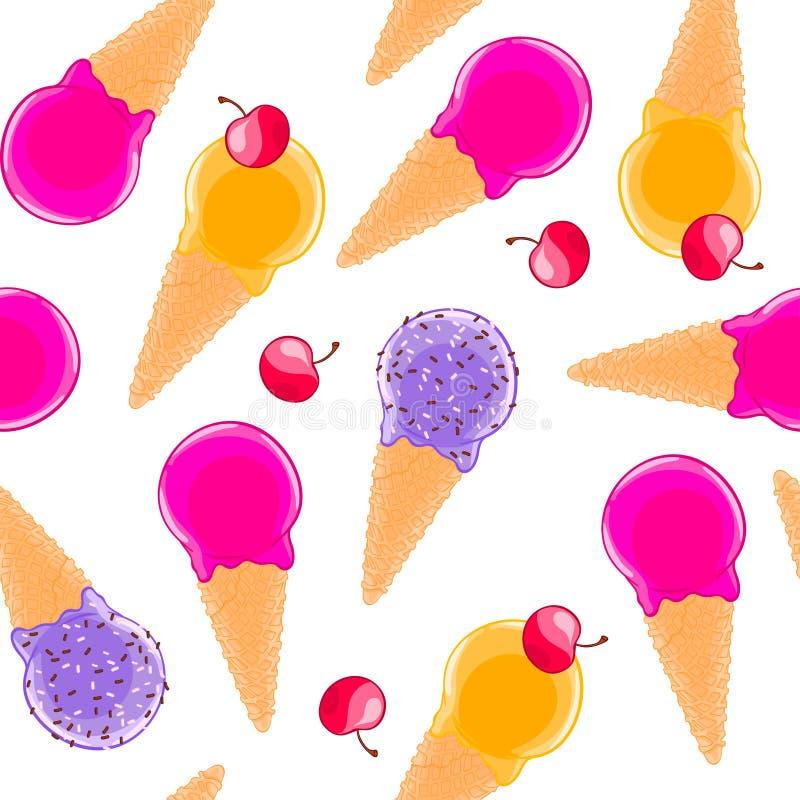 Modèle sans couture doux avec des cornets de crème glacée et des cerises de fruit de multiciolor illustration libre de droits