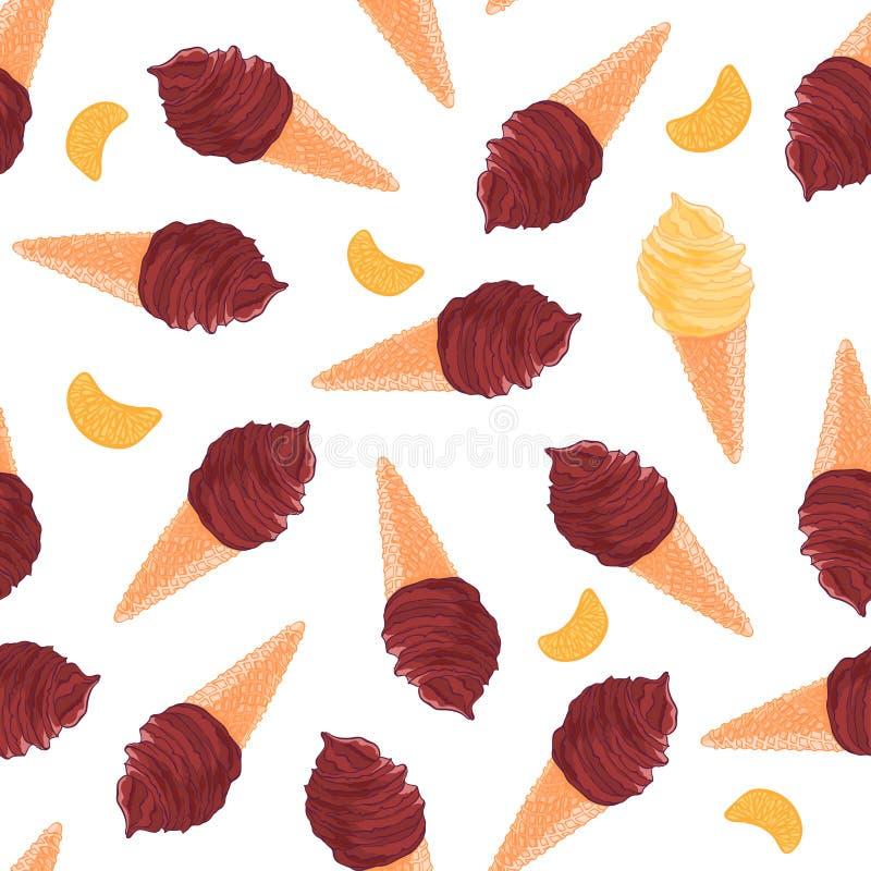 Modèle sans couture doux avec les cônes de chocolat et de glace à la vanille et la tranche de mandarine illustration libre de droits