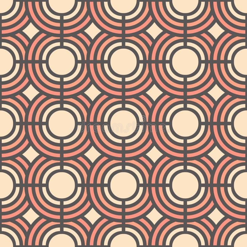 Modèle sans couture doux avec les cercles géométriques abstraits Illustration de vecteur Fond pour la robe, fabrication, papiers  illustration stock