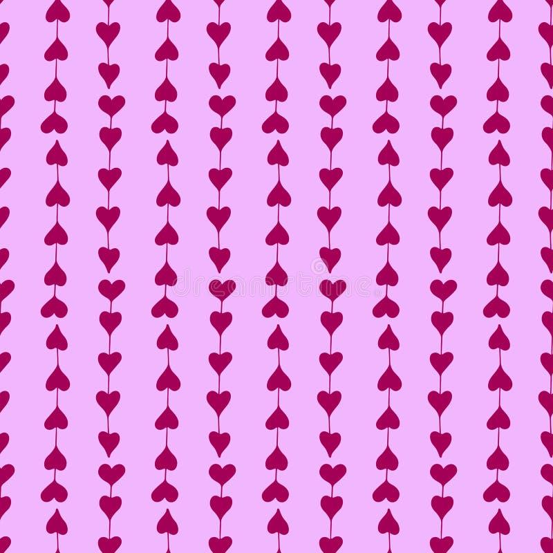 Modèle sans couture doux avec les coeurs lilas tirés par la main illustration stock