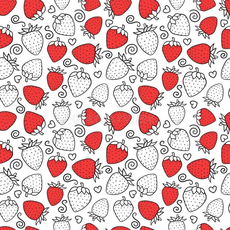 Modèle sans couture doux de fraise Texture extérieure de conception Boîte aux lettres illustration de vecteur