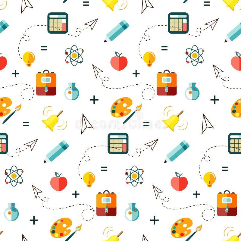 Modèle sans couture drôle avec des fournitures scolaires et des éléments créatifs De nouveau au fond d'école (EPS+JPG) illustration de vecteur