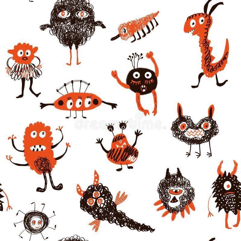 Modèle sans couture drôle de monstres Illustration de vecteur illustration de vecteur