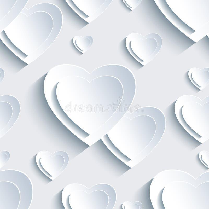 Modèle sans couture du jour de Grey Valentine avec les coeurs 3d illustration de vecteur