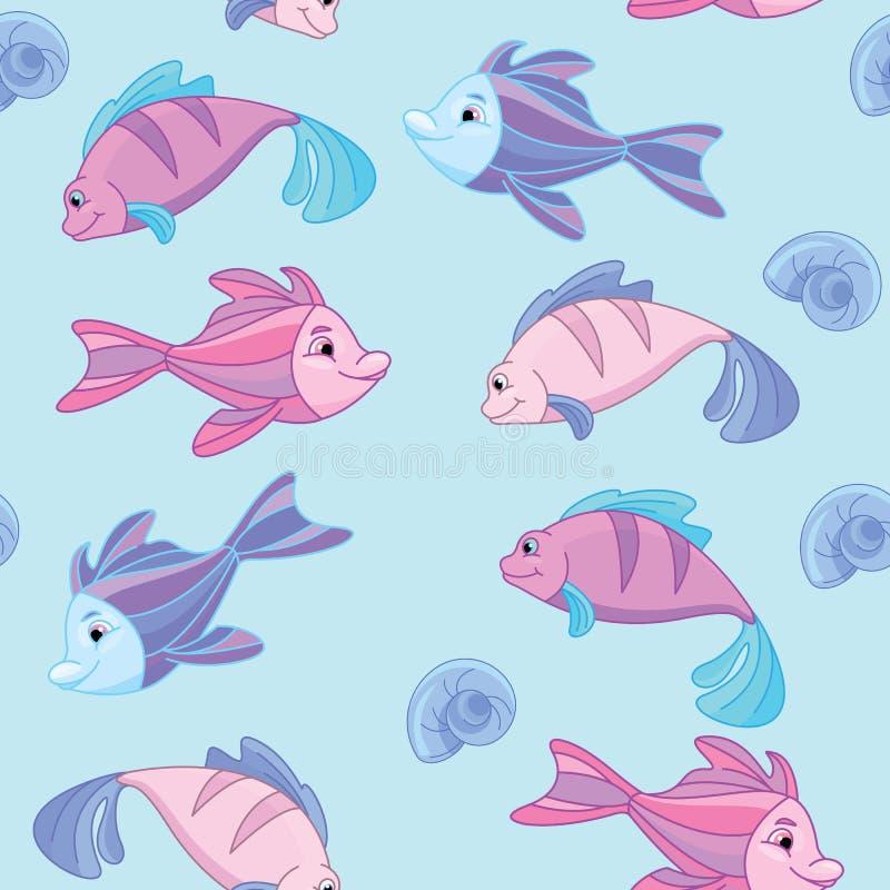 Modèle sans couture du monde sous-marin mignon illustration de vecteur